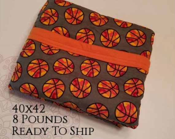 READY to SHIP, Weighted Blanket, 40-42-8 Pounds, Basketball, Orange Cotton Flannel Back, Sensory Blanket, Calming Blanket,