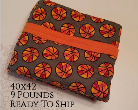 READY to SHIP, Weighted Blanket, 40-42-9 Pounds, Basketball, Orange Flannel Back, Sensory Blanket, Calming Blanket,
