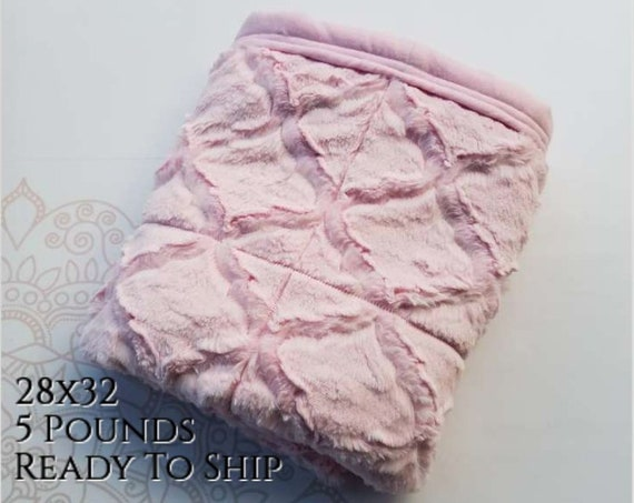 READY to SHIP, Weighted Blanket, 28x32-5 Pounds, Pink Lux Minky Front, Pink Cotton Flannel Back, Sensory Blanket, Calming Blanket,