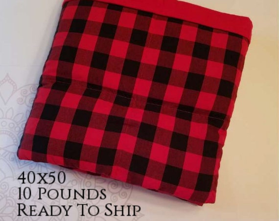 READY to SHIP, Weighted Blanket, 40x50-10 Pounds, Red and Black Cotton Front, Red Cotton Flannel Back, Sensory Blanket, Calming Blanket,
