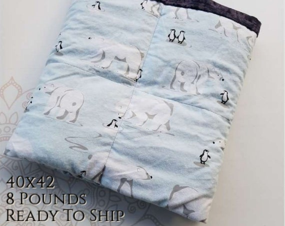 READY to SHIP, Weighted Blanket, 40x42-8 Pounds, Polar Bear Penguin, Black Tie Dye Cotton Flannel Back, Sensory Blanket, Calming Blanket,