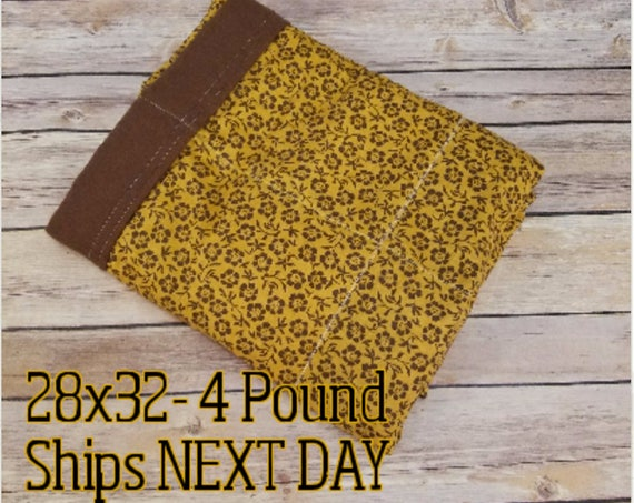 Mustard Brown Flowers, 4 Pound, WEIGHTED BLANKET, 4 pounds, 28x32 for Autism, Sensory, ADHD, Calming, Anxiety,