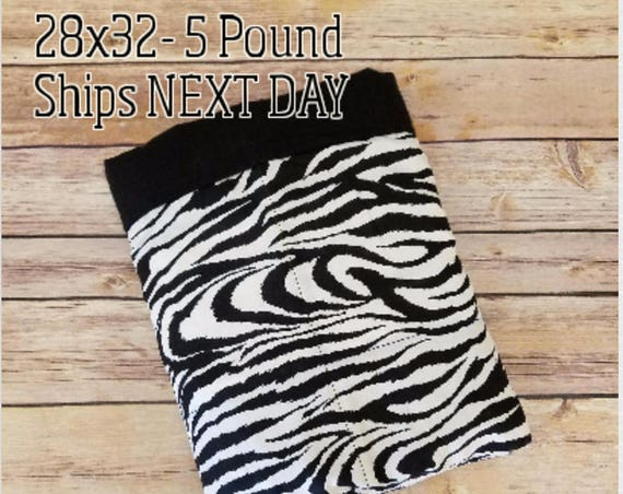 Zebra, 5 Pound, WEIGHTED BLANKET , 5 pounds, 28x32 for Autism, Sensory, ADHD, Calming, Anxiety,