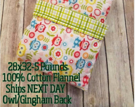Owl, 5 Pound, WEIGHTED BLANKET, Ready To Ship, 5 pounds, 28x32 for Autism, Sensory, ADHD, Calming, Anxiety,
