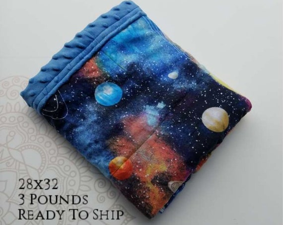 READY to SHIP, Weighted Blanket, 28x32-3 Pounds, Solar System Front, Blue Minky Back, Sensory Blanket, Calming Blanket,