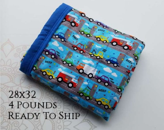 READY to SHIP, Weighted Blanket, 28x32-4 Pounds, Traffic Front, Royal Blue Back, Sensory Blanket, Calming Blanket,