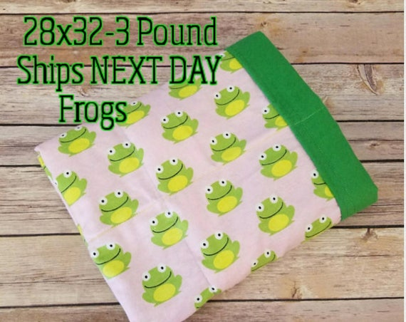 Frog, 3 Pound, WEIGHTED BLANKET, Ready To Ship, 3 pounds, 28x32 for Autism, Sensory, ADHD, Calming, Anxiety,