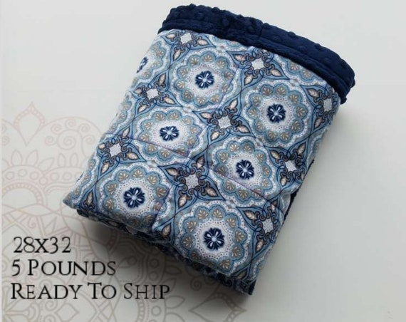 READY to SHIP, Weighted Blanket, 28x32-5 Pounds, Blue Gray Medallion Cotton Flannel Front, Navy Minky Back, Sensory Blanket, Calming Blanket