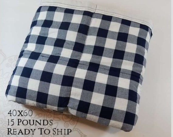 READY to SHIP, Weighted Blanket, 40x60-15 Pounds, Navy White Check Cotton Front, White Woven Cotton Back, Sensory Blanket, Calming Blanket,