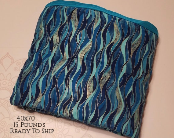 READY to SHIP, Weighted Blanket, 40x70-15 Pounds, Dragonfly Swirls, Teal Woven Cotton Back, Sensory Blanket, Calming Blanket,