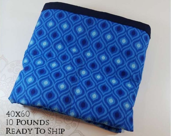 READY to SHIP, Weighted Blanket, 40x60-10 Pounds, Blue Moroccan Cotton, Navy Cotton Back, Sensory Blanket, Calming Blanket,