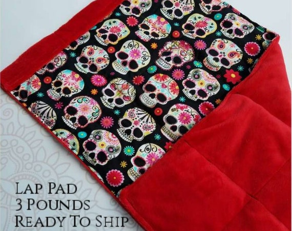 READY TO SHIP, Sugar Skulls, Red Smooth Minky, Weighted, Lap Pad/Travel Weighted Blanket, 3 pounds, 14.5x22, Small Weighted Blanket