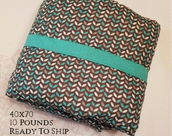 READY to SHIP, Weighted Blanket, 40x70 10 Pounds, Teal Gray Leaves, Teal Woven Cotton Back, Sensory Blanket, Calming Blanket,