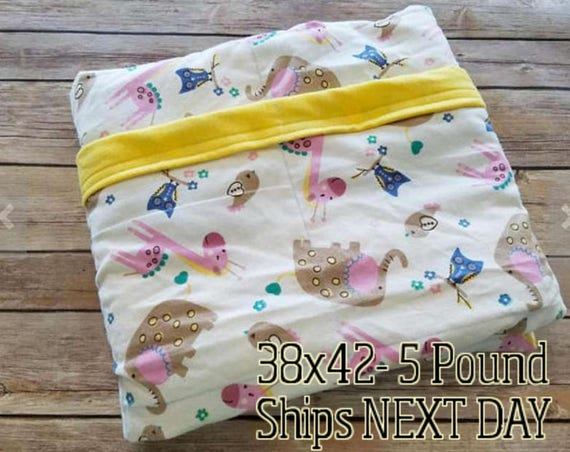 Elephant, Giraffe, 5 Pound, WEIGHTED BLANKET, Ready To Ship, 5 pounds, 38x42 for Autism, Sensory, ADHD