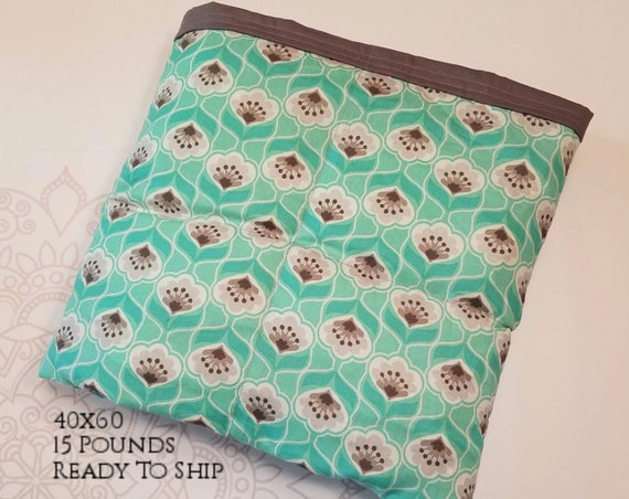 READY to SHIP, Weighted Blanket, 40x60-15 Pounds, Mint Gray Flowers, Gray Woven Cotton Back, Sensory Blanket, Calming Blanket,