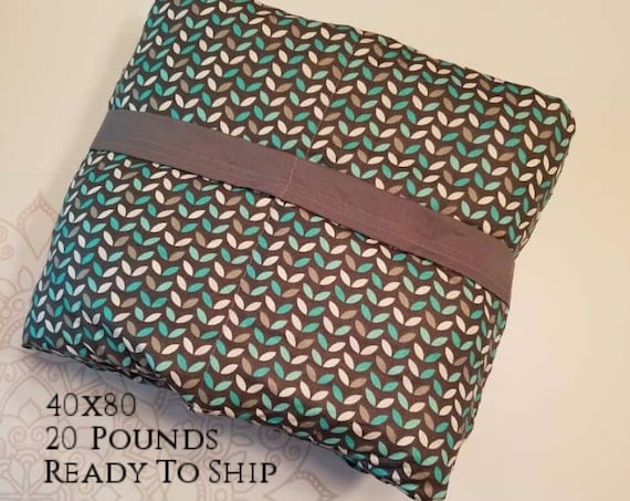 READY to SHIP, Weighted Blanket, 40x80-20 Pounds, Teal Gray Leaves, Gray Woven Cotton Back, Sensory Blanket, Calming Blanket,