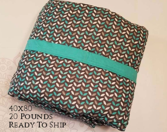 READY to SHIP, Weighted Blanket, 40x80-20 Pounds, Teal Gray Leafs, Teal Woven Cotton Back, Sensory Blanket, Calming Blanket,