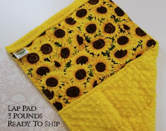 READY TO SHIP, Sunflower Woven Cotton, Yellow Minky Back, Weighted, Lap Pad/Weighted Blanket, 3 pounds, 14x22, Small Weighted Blanket