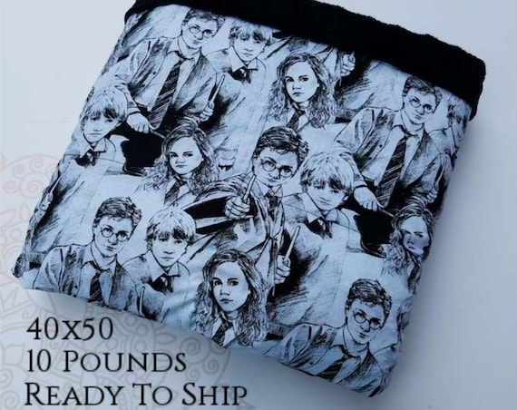 READY to SHIP, Weighted Blanket, 40x50-10 Pounds, Character Sketch Cotton Front, Black Minky Back, Sensory Blanket, Calming Blanket,