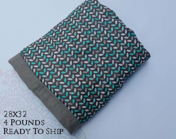 READY to SHIP, Weighted Blanket, 28x32-4 Pounds, Teal Gray Leaves Front, Gray Cotton Flannel Back, Sensory Blanket, Calming Blanket,
