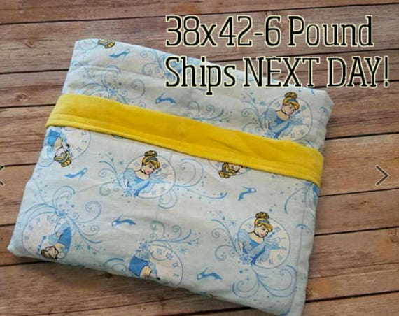 Princess, 6 Pound, WEIGHTED BLANKET, Ready To Ship, 6 Pounds, 38x42 for Autism, Sensory, ADHD, Calming