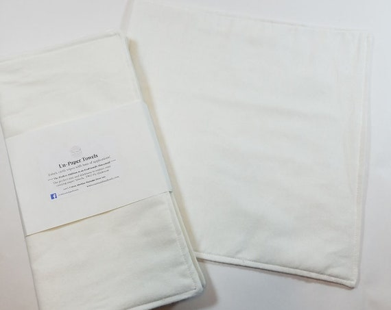 4 Reusable UnPaper Towels, Eco Friendly, Neutral Color, Kitchen Essential, White Unpaper Towels