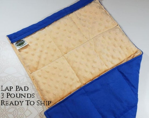 READY TO SHIP, Creamsicle Minky Front, Royal Blue Flannel Back, Lap Pad/Weighted Blanket, 3 pounds, 14x22, Small Weighted Blanket