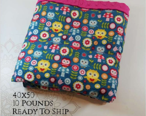 READY to SHIP, Weighted Blanket, 40x50-10 Pounds, Owl Front, Hot Pink Minky Back, Sensory Blanket, Calming Blanket,