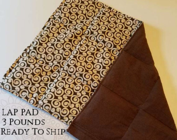 READY TO SHIP, Washable, Swirl, Weighted Lap Pad/Small Blanket/Travel Weighted Blanket 3 pounds.  14.5x22