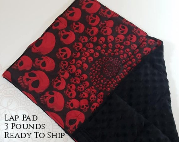 READY TO SHIP,  Red Skulls, Black Minky, Weighted, Lap Pad/Travel Weighted Blanket, 3 pounds, 14x22, Small Weighted Blanket