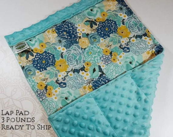 READY TO SHIP, Teal Mint Flowers Front, Light Teal Minky Back, Lap Pad/Weighted Blanket, 3 pounds, 14x22, Small Weighted Blanket