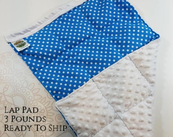 READY TO SHIP, Blue Polka Dot Front, White Minky Back, Weighted, Lap Pad/Weighted Blanket, 3 pounds, 14x22, Small Weighted Blanket