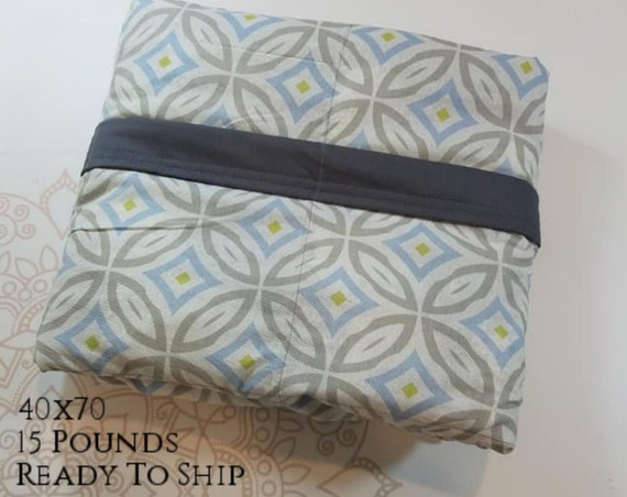 READY to SHIP, Weighted Blanket, 40x70-15 Pounds, Gray Geometric Cotton Front, Gray Cotton Back, Sensory Blanket, Calming Blanket,