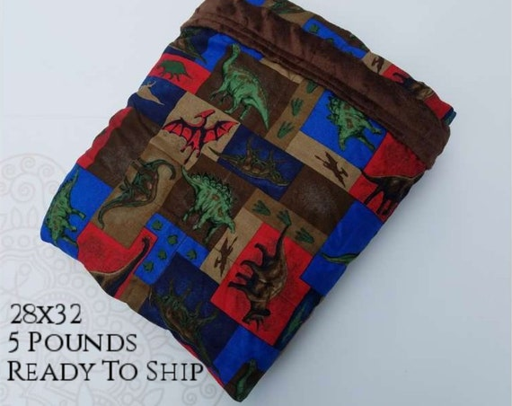 READY to SHIP, Weighted Blanket, 28x32-5 Pounds, Dinosaur Woven Cotton Front, Brown Minky Back, Sensory Blanket, Calming Blanket,