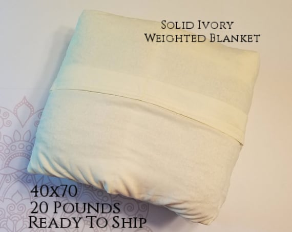READY to SHIP, Weighted Blanket, 40x70-20 Pounds, Ivory Cotton Front, Ivory Cotton Back, Sensory Blanket, Calming Blanket,