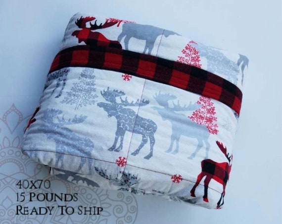 READY to SHIP, Weighted Blanket, 40x70-15 Pounds, Moose Cotton Flannel, Red Buffalo Check Flannel Back, Sensory Blanket, Calming Blanket,