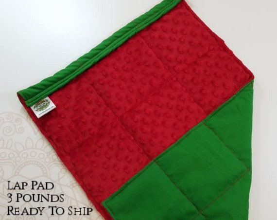 READY TO SHIP, Green Woven Cotton, Red Minky Back, Weighted, Lap Pad/Weighted Blanket, 3 pounds, 14x22, Small Weighted Blanket