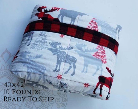READY to SHIP, Weighted Blanket, 40x42-10 Pounds, Moose Cotton Flannel, Red Buffalo Check Flannel Back, Sensory Blanket, Calming Blanket,
