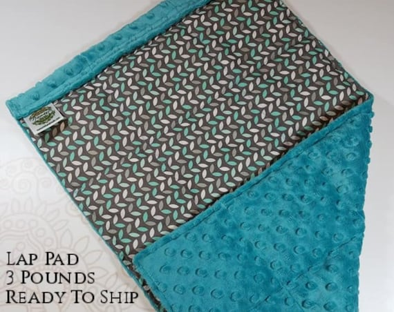READY TO SHIP, Teal Gray Leaves Front, Teal Minky Back, Lap Pad/Weighted Blanket, 3 pounds, 14x22, Small Weighted Blanket