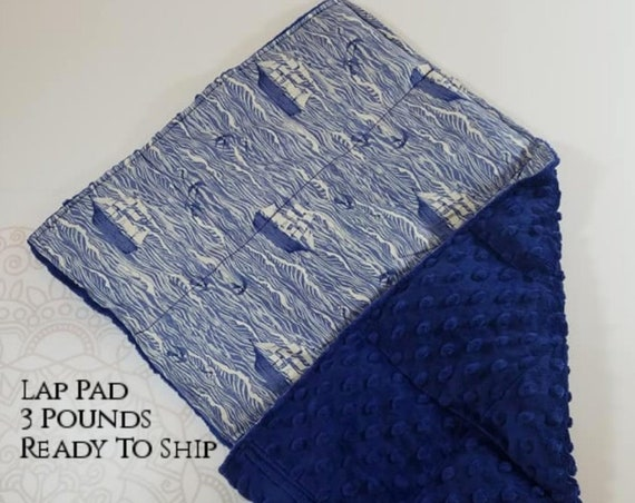 READY TO SHIP, Sailboat, Navy Minky, Weighted, Lap Pad/Travel Weighted Blanket, 3 pounds, 14x22, Small Weighted Blanket