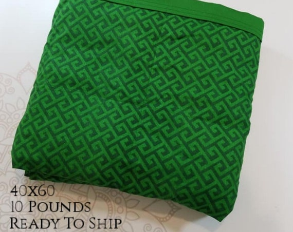 READY to SHIP, Weighted Blanket, 40x60-10 Pounds, Green Greek Woven Cotton Front, Green Back, Sensory Blanket, Calming Blanket,