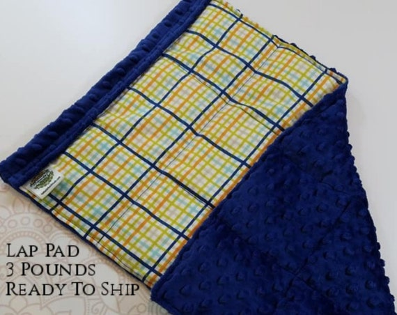 READY TO SHIP, Multi Gingham, Navy Minky Back, Weighted, Lap Pad/Weighted Blanket, 3 pounds, 14x22, Small Weighted Blanket