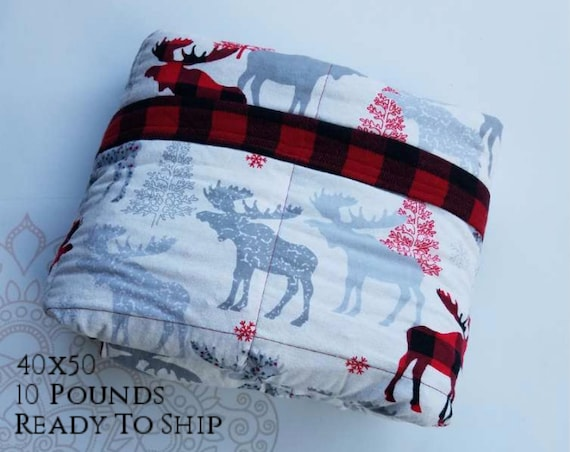 READY to SHIP, Weighted Blanket, 40x50-10 Pounds, Moose Cotton Flannel, Red Buffalo Check Flannel Back, Sensory Blanket, Calming Blanket,