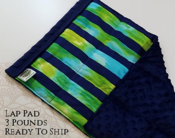 READY TO SHIP, Navy Green Stripe, Navy Minky Back, Weighted, Lap Pad/Weighted Blanket, 3 pounds, 14x22, Small Weighted Blanket