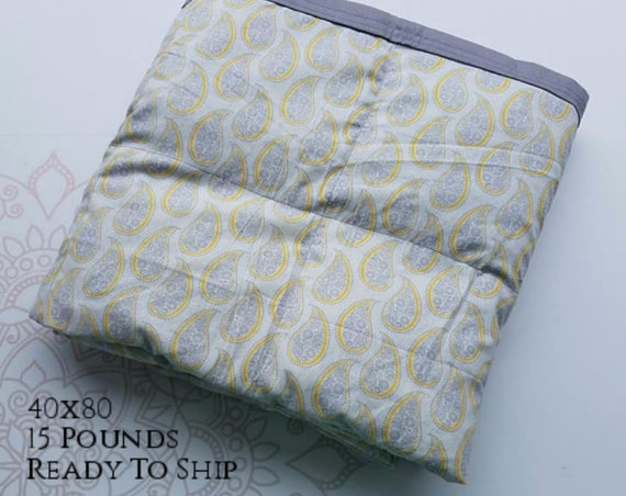 READY to SHIP, Weighted Blanket, 40x80-15 Pounds, Yellow Gray Paisley Cotton Front, Gray Cotton Back, Sensory Blanket, Calming Blanket,