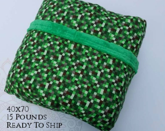 READY to SHIP, Weighted Blanket, 40x70-15 Pounds, 16 Bit, Green Minky Back, Sensory Blanket, Calming Blanket,