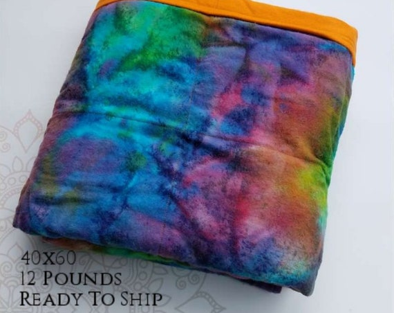 READY to SHIP, Weighted Blanket, 40x60-12 Pounds, Rainbow Colors Flannel Front, Orange Flannel Back, Sensory Blanket, Calming Blanket,