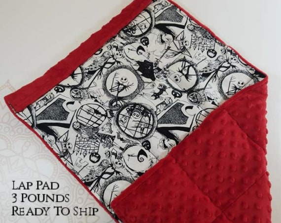 READY TO SHIP,  Nightmare, Red Minky, Weighted, Lap Pad/Travel Weighted Blanket, 3 pounds, 14x22, Small Weighted Blanket