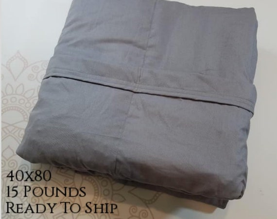 READY to SHIP, Weighted Blanket, 40x80-15 Pounds, Gray Woven Cotton, Gray Woven Cotton Back, Sensory Blanket, Calming Blanket,