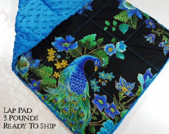 READY TO SHIP, Peacock Front, Blue Minky Back, Lap Pad/Weighted Blanket, 3 pounds, 14x22, Small Weighted Blanket